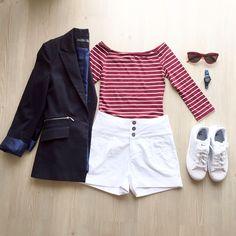 Burcu Rahim, navy.. Stripes , white short, superstar , fashion & style