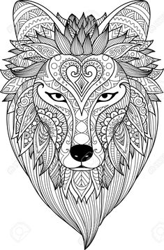 Zendoodle Stylize Of Dire Wolf Face For Adult Coloring Book Page. Royalty Free Cliparts, Vectors, And Stock Illustration. Fox Coloring Page, Horse Coloring Pages, Pattern Coloring Pages, Free Adult Coloring Pages, Mandala Coloring Pages, Colouring Pages, Coloring Books, Wolf Face, Dire Wolf