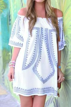 Cupshe Fringe Life Off Shoulder Tunic Dress