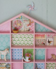 Little house of wonder.  Cute Idea to put wallpaper or scrapbook papers in dollhouse grandpa built