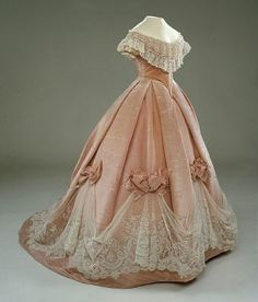 Peach blush gown with lace from the 1850's...