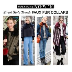 """Street Style Trend: Faux Fur Collars"" by polyvore-editorial ❤ liked on Polyvore featuring women's clothing, women, female, woman, misses, juniors, NYFW, pvnyfw and fauxfurcollars"