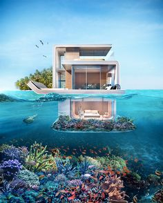 The Latest Exaggerated Project of Dubai with Its Futuristic and Interesting Structure: Floating . Fütürist ve İlginç Yapısıyla Dubai& Son Abartılı Projesi: Yüzen … Futuristic and Interesting Structure of Dubai& Last Exaggerated Project: Floating Houses Underwater Bedroom, Underwater House, Luxury Houseboats, Luxury Yachts, Architecture Cool, Floating Architecture, Beautiful Homes, Beautiful Places, Casas The Sims 4