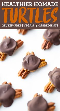 These homemade turtles are made with five simple ingredients yet still amazingly decadent and taste just as good, if not better, than the store-bought candies. They're also better for you! Everyone will love this easy 5-ingredient recipe! Vegan + gluten-free. #chocolateturtles #turtlecandies #candy #chocolate #datecaramel #vegandessert #glutenfreedessert #eatingbirdfood Chocolate Turtles, Chocolate Treats, Chocolate Recipes, Gluten Free Desserts, Vegan Desserts, Vegan Gluten Free, Vegan Recipes, Coconut Oil Chocolate, Vegan Chocolate