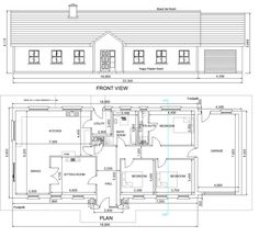 View House Plans - Bungalows Storey and a Half Two Storey - - Mullingar Westmeath - Residential and Commercial Planning Service. Bungalow Exterior, Bungalow House Plans, Bungalow House Design, Small House Plans, Extension Plans, Planning Applications, Garage Plans, Technical Drawing, Autocad