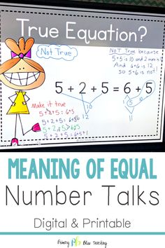 These Number Talks are designed to solidify students' understanding of the equal sign and specifically address the common core standard These number talk math resources are an asset to any first grade classroom. First Grade Lessons, First Grade Activities, Teaching First Grade, Second Grade Math, First Grade Classroom, Math Lessons, Teaching Math, Math Fact Practice, Math Talk