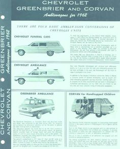 """Vintage early 60s Chevrolet ambulance lineup including Greenbrier Corvair ambulances and """"funeral cars"""""""