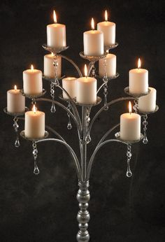 """This would make a perfect alter accent for a fall vow renewal.     51"""" Tall Metal Candle Tree with Crystals"""
