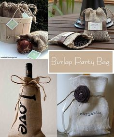 Modern Country Designs: Burlap Bag Party Favours - I think this might be your style? Party Favor Bags, Wedding Party Favors, Party Favours, Burlap Party, Bridal Shower Wine, Burlap Bags, Western Parties, Mason Jar Candles, Sweet 16 Parties