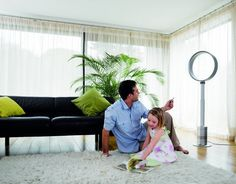 Dyson Pedestal Fan The fan is Dyson's first design, This fan used the Air Multiplier technology, the fan base of turbine unit intake the air, and then extruse the air before from the ring in the slot. Pedestal Fan, Fan Blades, One Design, Outdoor Furniture Sets, Dj, Home Appliances, The Unit, Technology, Slot