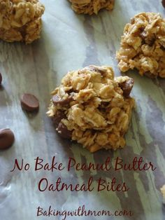Peanut butter, oatmeal, honey and chocolate make up these delicious no bake bites. Perfect for snacks for the family.