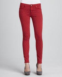 Quilted-Stitching Skinny Jeans, Red $158 http://www.cusp.com/product.jsp;jsessionid=161097997F81DBB6C7301CCCA939425B?rte=%252Fcategory.jsp%253FitemId%253Dcat2280013%2526pageSize%253D30%2526No%253D0%2526refinements%253D&seoDesigner=D-ID+Denim&icid=&seoCategory=Denim&parentId=cat2280013&eItemId=prod7320076&seoProduct=Quilted-Stitching+Skinny+Jeans%2C+Red&searchType=EndecaDrivenCat&cmCat=product&itemId=prod7320076