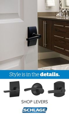 No bathroom makeover is complete without stylish door hardware from Schlage. With traditional, modern and transitional styles available in a wide variety of finishes, it's easy to find the perfect finishing touch for any décor. This bathroom makes a great first impression with Schlage's Latitude Lever with Century trim in Aged Bronze.