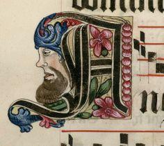 lettre ornée d'un profil  DATE :1500-1600 Détail extrait d'un manuscrit (Antiphonaire, BmN, Ms 437)