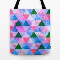 Modern Pink, Blue & Green Geometric Design Tote Bag