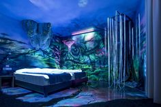 how to paint the perfect stoner room  http://guff.com/you-cant-see-these-murals-with-the-lights-on-but-they-become-new-worlds-in-the-dark/jungle-scene