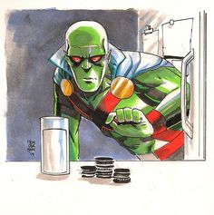Martian Manhunter going for the Chocos and milk. Art by Mike Henderson - DC Dc Comics Characters, Dc Comics Art, Fun Comics, Marvel Comics, Comic Books Art, Comic Art, Comic Character, Character Design, Creepy Dude