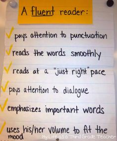 Great fluency anchor chart. Leave it up all year long so students have a reference of what a fluent reader looks and sounds like.