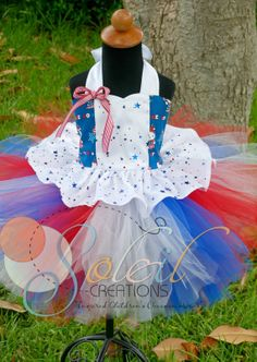 Patriotic Tutu Outfit Holiday Pageant Dress by Soleil Creations.