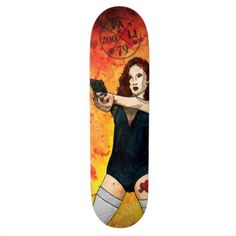 Bang Bang! skateboard design by Julie Fazooli. Shop at www.fazooli.ca