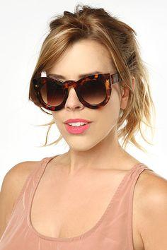 'Queenie' Oversized Rounded Cat Eye Sunglasses - Black - 5325-1