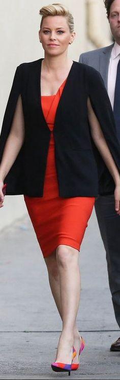 Elizabeth Banks: Dress – Mugler  Cape – BB Dakota  Shoes – Roger Vivier  Jewelry – Vita Fede