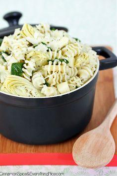 Spinach Artichoke Pasta Salad. I use feta instead of mozzarella & add Roma or grape tomatoes. Crowd favorite!