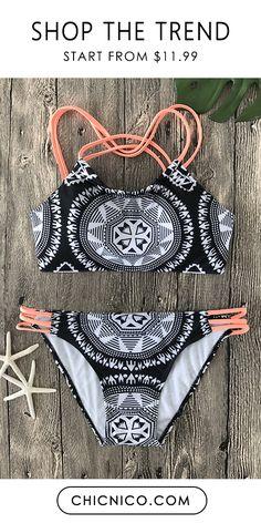 $25.99 Boho Sexy Monochrome Two Pieces Bikini Set Black and white swimsuit