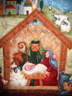 Christmas Wreaths, Christmas Crafts, Christmas Decorations, Xmas, Panel Quilts, Baby Quilts, Folk Art, Diy And Crafts, Embroidery