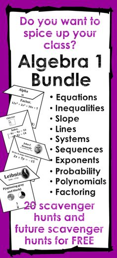 All the scavenger hunts I use in my Algebra 1 class. These scavenger hunts are a great way to boost student engagement. Plus you get all future Algebra 1 scavenger hunts FOR FREE!