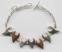 "Hanna Korhonen (FI), Elements Collection - ""Tuli"" (Fire) sterling silver and oak bracelet. #finland"