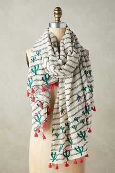 Anthropologie Embroidered Cacti Scarf` ` ` This is an affiliate link. If you click the link and make a purchase, I will receive a small commission. However the cost of the item(s) is the same for you.