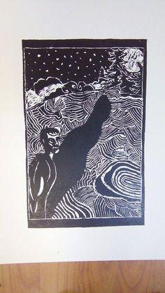 "Lino gravură , ""Crize"" , Ilustraţie Stencils, My Arts, Night, Artwork, Work Of Art, Templates, Stenciling, Sketches"
