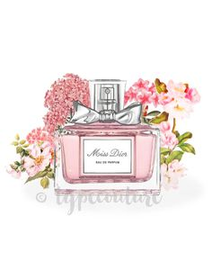 Watercolour Miss Dior perfume bottle art. Miss by TypeCouture