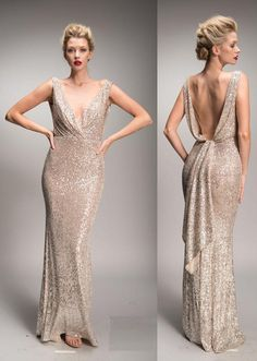 Nicole Bakti 6899 sequin dress with plunging deep v neckline - Mia Bella Couture Glitter Bridesmaid Dresses, Bridesmaids, Prom Dresses Under 50, Elegant Dresses, Formal Dresses, Golden Dress, Haute Couture Gowns, Trumpet Dress, Mom Dress