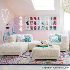 Neutral Room Models for Children - Home Fashion Trend Teen Lounge Rooms, Teen Hangout Room, Lounge Seating, Teen Girl Bedrooms, New Room, Girl Room, Decoration, Room Inspiration, Bedroom Decor