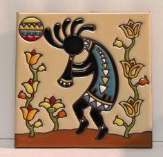"Earthtones Kokopelli Hand Glazed Painted Decorative Art Tile 6"" Square EUC"