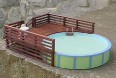 Above Ground Swimming Poo - Deck Option. This is the plan for ours, except a little wider - enough space for plastic chairs and table/umbrella! with a built in bench for kiddos to sit vs. chairs/loungers for adults. Underground Swimming Pool, Swimming Pool Decks, Above Ground Swimming Pools, My Pool, In Ground Pools, Oberirdische Pools, Round Above Ground Pool, Gazebo On Deck, Table Umbrella