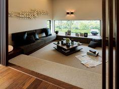 ローリビングは、家族のゆとりのステージ。 イメージ Home Decor Bedroom, Living Room Decor, Log Cabin Floor Plans, House Plans, Sunken Living Room, Japanese Interior Design, Attic Design, Small Apartments, House Rooms