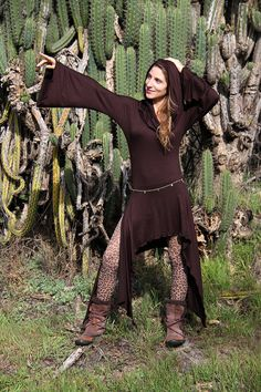 MAGICIAN DRESS BROWN Festival Fairy, Goddess Hood, Pixie Bottom, Elvish Cowl Neck, Dance and Smile :). $80.00, via Etsy.