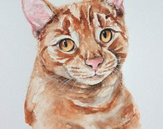 """Items similar to Custom pet portrait, 11"""" x 15"""" original watercolor painting, dog or cat painting, affordable, great birthday present / wedding gift. on Etsy"""