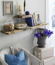 diy driftwood decor home living room wall shelves planks