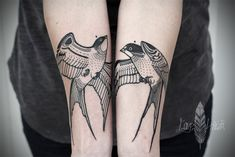 Swallows, forearms, a / symmetry, by David Hale tattoo Couple Tattoos, New Tattoos, Tatoos, David Hale Tattoo, Hawk Tattoo, Raven Tattoo, Tattoo Ink, Swallow Bird Tattoos, Simplistic Tattoos
