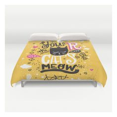 Cat's Meow Duvet Cover ($129) ❤ liked on Polyvore featuring home, bed & bath, bedding, duvet covers, queen duvet insert, king size duvet insert, queen duvet, lightweight duvet insert and king duvet insert
