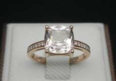 BLACK FRIDAY Sale 10% off (coupone: blackfriday) expires Nov 30 - Engagement Ring -  2.5 Carat Morganite Ring With Diamonds In 14K Rose Gold