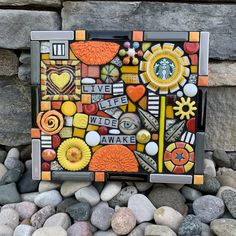 Upcycled starbucks coffee cap mixed media mosaic flower