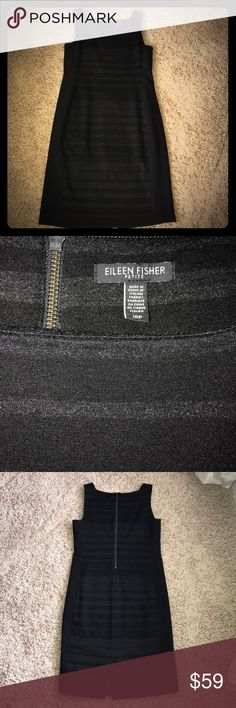 """Eileen Fisher dress Beautiful black and charcoal gray dress with exposed back zipper and small slit in rear. Size 10P, 36"""" total length Eileen Fisher Dresses Midi"""