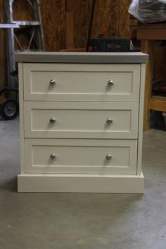 Shaker style Rast hack with gray wooden top and nice bottom moulding