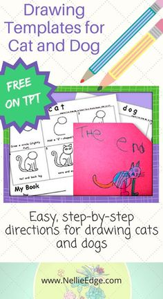 Easy, step-by-step directions for drawing cats and dogs. Ideal for kindergartners to illustrate the own little books.#howtodraw #freedrawing #kindergartenillustration #nellieedgetpt #KindergartenDrawing #nellieedge #tpt #kindergartenliteracy Kindergarten Drawing, Kindergarten Handwriting, Kindergarten Literacy, Literacy Centers, Abc Phonics, Drawing Lessons, Drawing Projects, Art Lessons, Drawing Templates