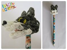 Loombicious 3D wolf pencil topper Rainbow Loom - YouTube Rainbow Loom Tutorials, Rainbow Loom Patterns, Rainbow Loom Creations, Rainbow Loom Charms, Rainbow Loom Bracelets, Rubber Band Crafts, Rubber Bands, Loom Bands Tutorial, Wonder Loom